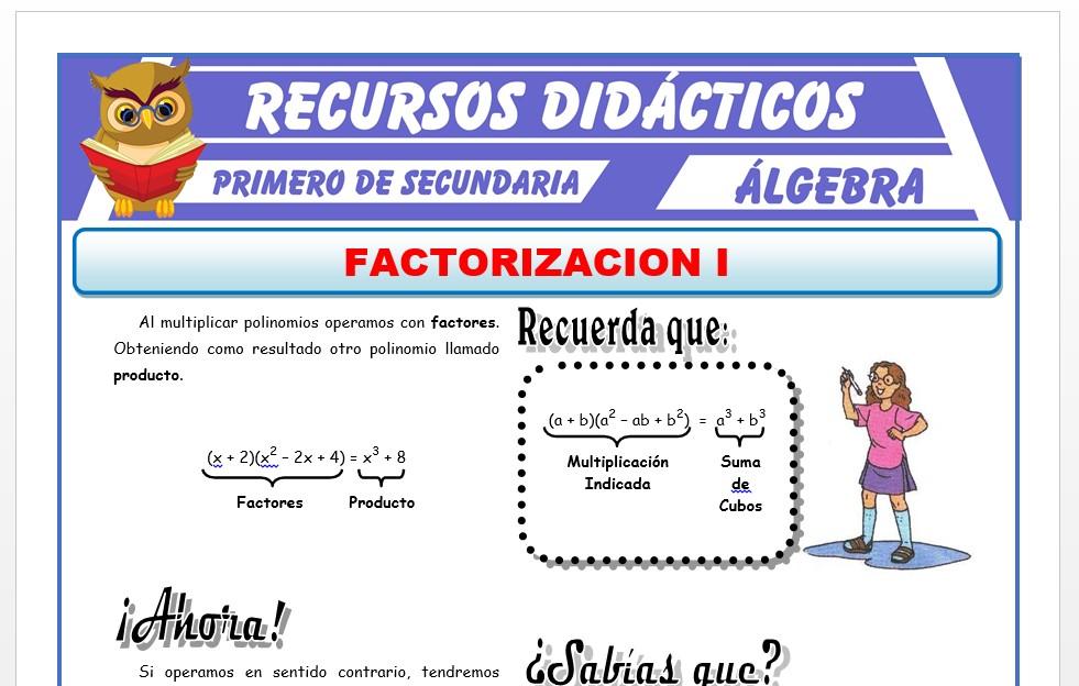 Ficha de Factorización por Factor Comun para Primero de Secundaria