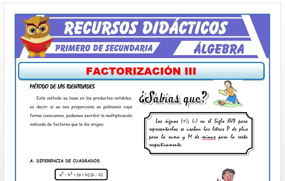 Ficha de Factorización por Identidades para Primero de Secundaria