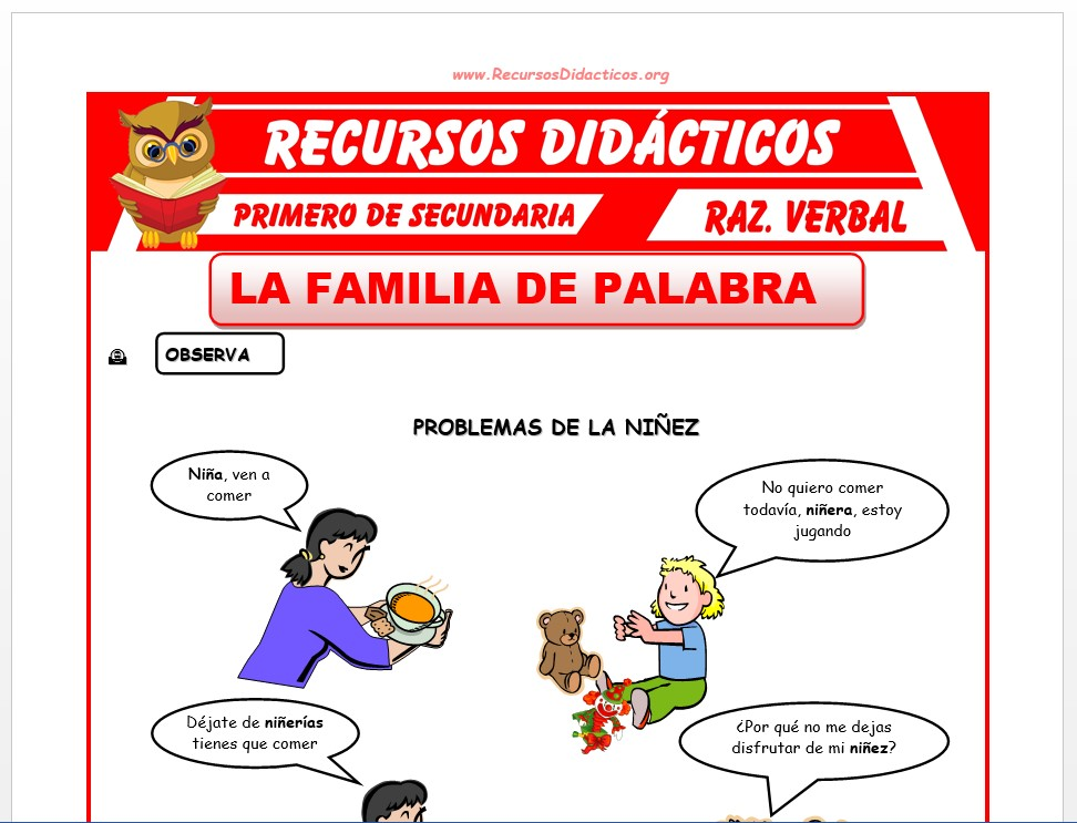Ficha de Familia de Palabras para Primero de Secundaria