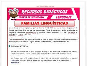Ficha de Familias Linguisticas para Cuarto de Secundaria