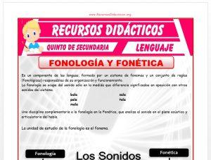 Ficha de Fonología y Fonética para Quinto de Secundaria
