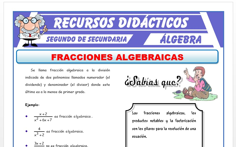 Ficha de Fracción Algebraica para Segundo de Secundaria