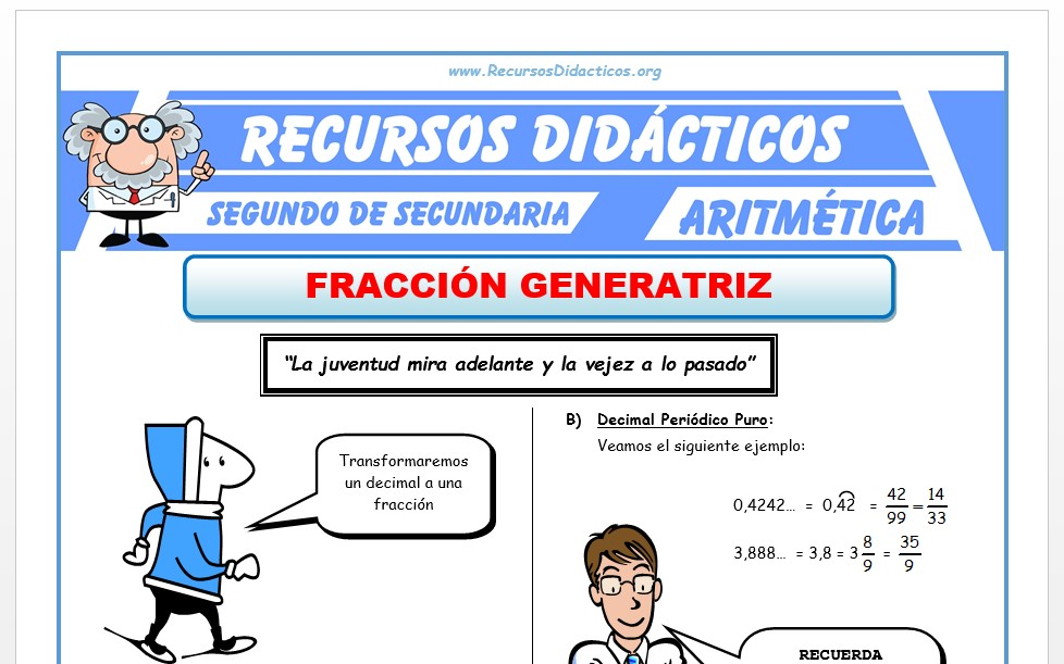 Ficha de Fracción Generatriz para Segundo de Secundaria