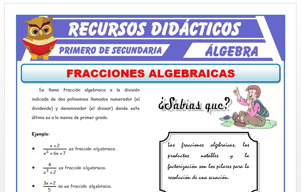 Ficha de Fracciones Algebraicas para Primero de Secundaria