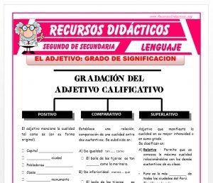 Ficha de Grados de Significación del Adjetivo para Segundo de Secundaria