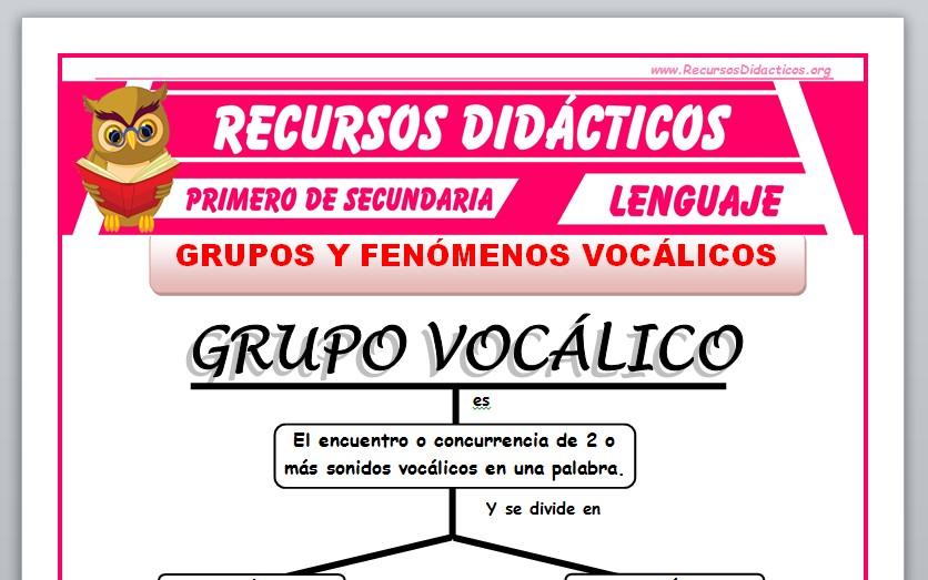 Ficha de Grupos y Fenómenos Vocálicos para Primero de Secundaria