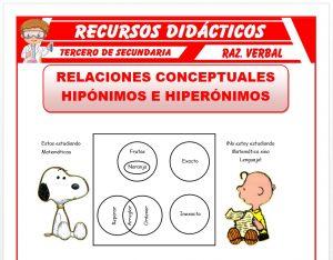 Ficha de Hipónimos e Hiperónimos para Tercero de Secundaria