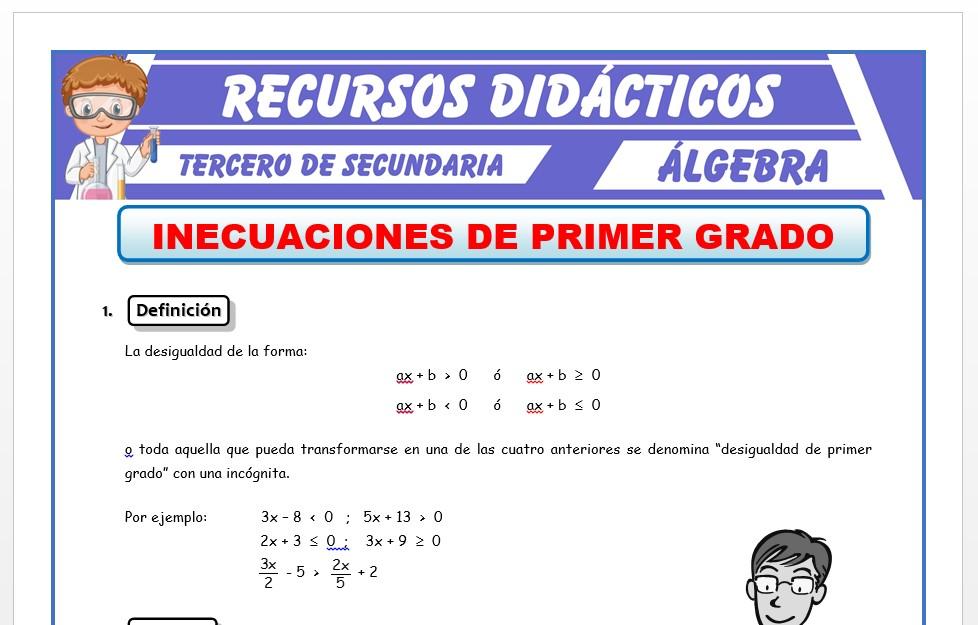Ficha de Inecuaciones de Primer Grado para Tercero de Secundaria