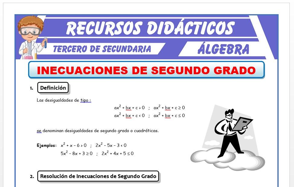 Ficha de Inecuaciones de Segundo Grado para Tercero de Secundaria