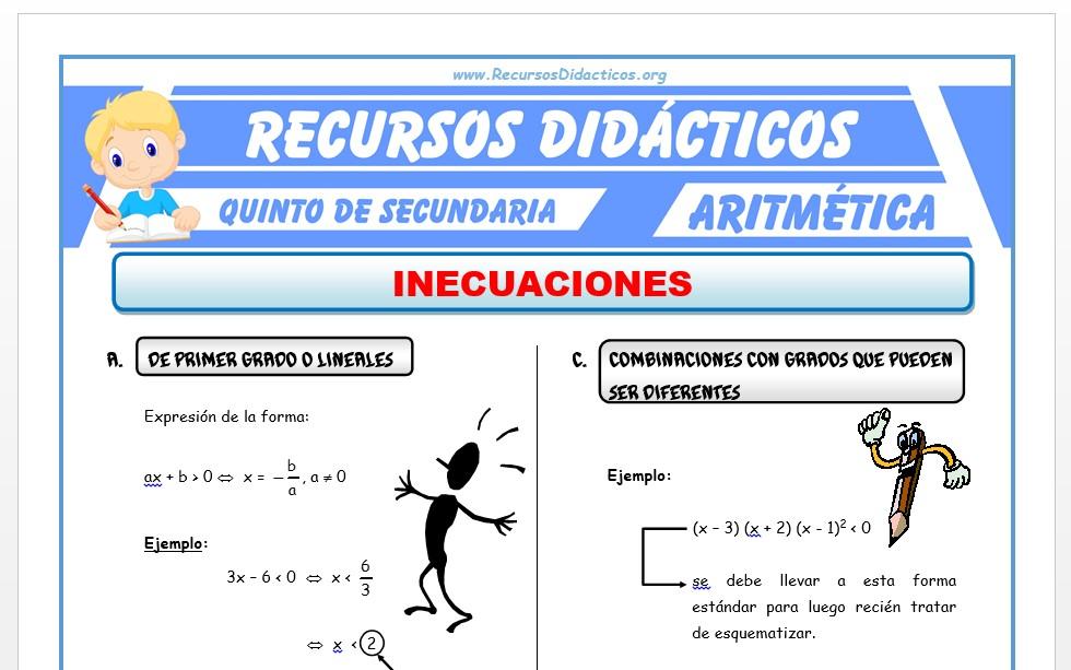 Ficha de Inecuaciones para Quinto de Secundaria