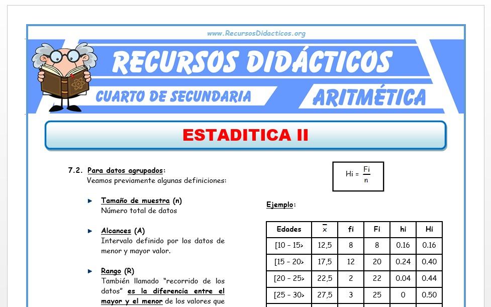 Ficha de Interpretación de Cuadros Estadisticos para Cuarto de Secundaria