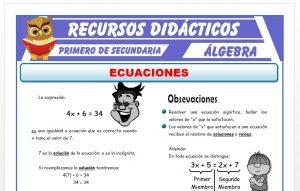 Ficha de Introduccion a las Ecuaciones para Primero de Secundaria