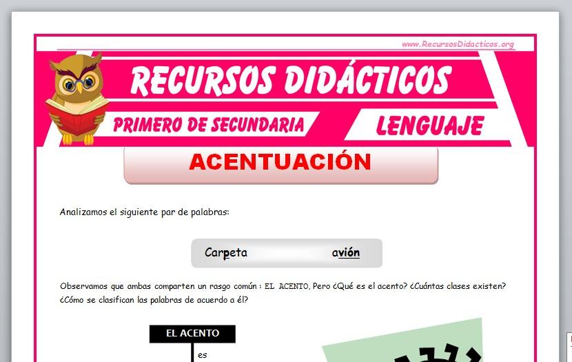 Ficha de La Acentuación para Primero de Secundaria