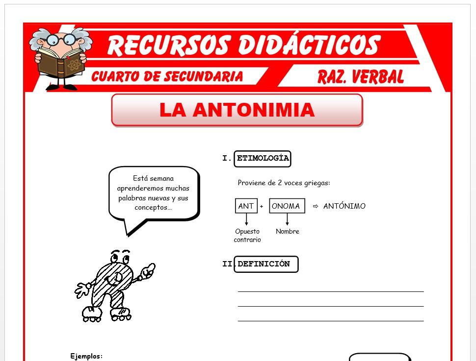 Ficha de La Antonimia para Cuarto de Secundaria