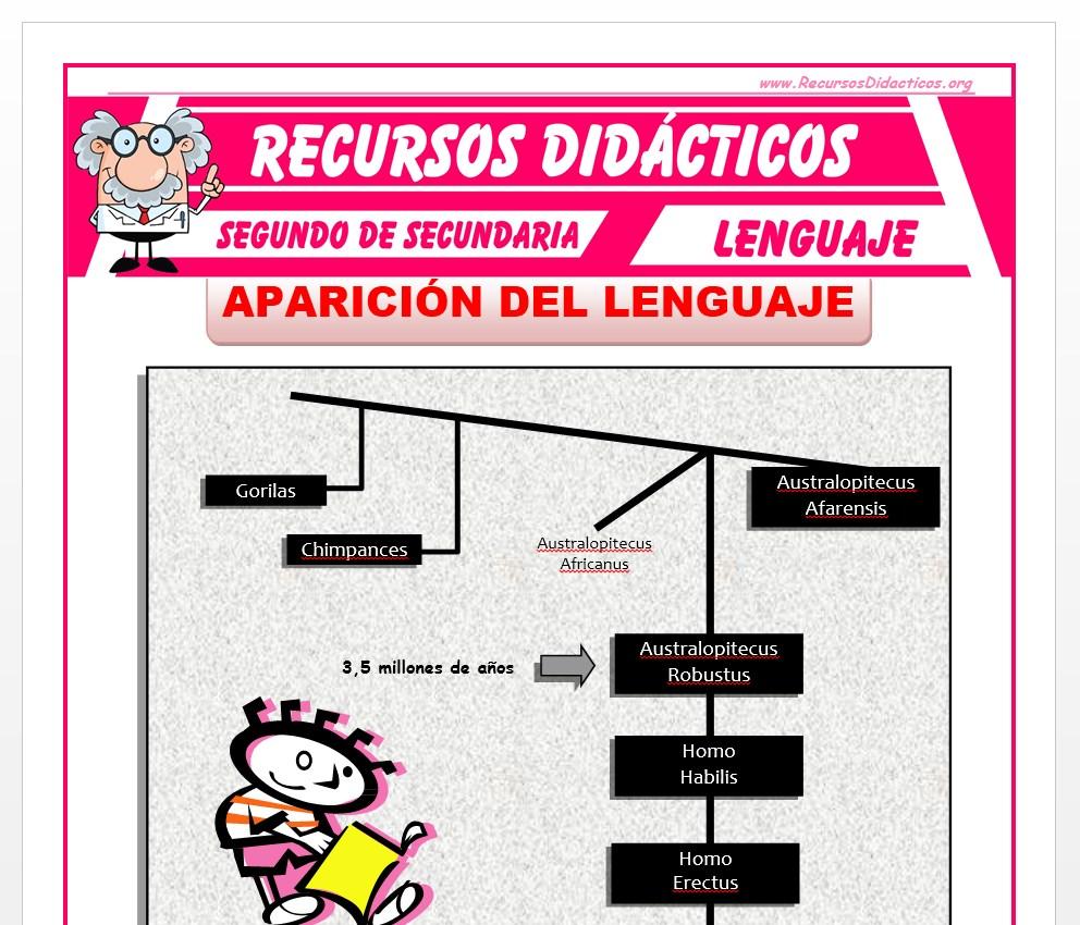 Ficha de La Aparición del Lenguaje para Segundo de Secundaria