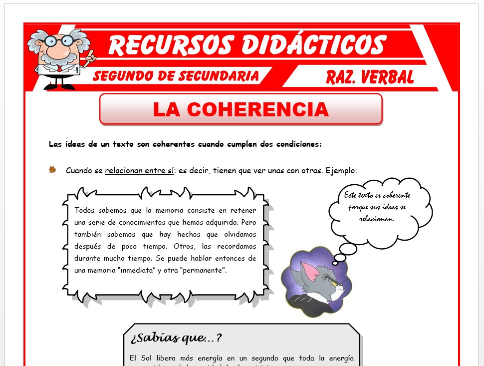 Ficha de La Coherencia para Segundo de Secundaria