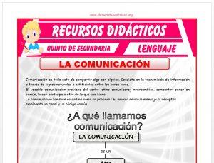 Ficha de La Comunicación para Quinto de Secundaria
