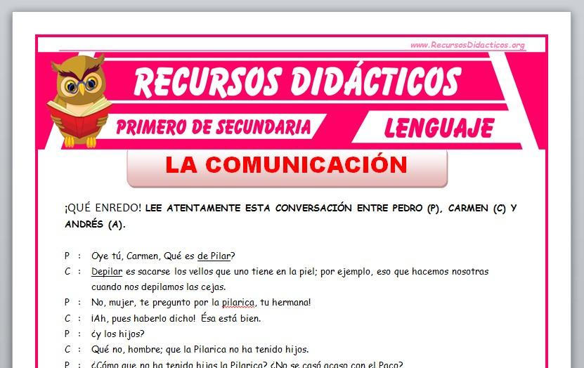 Ficha de La Comunicación Humana para Primero de Secundaria