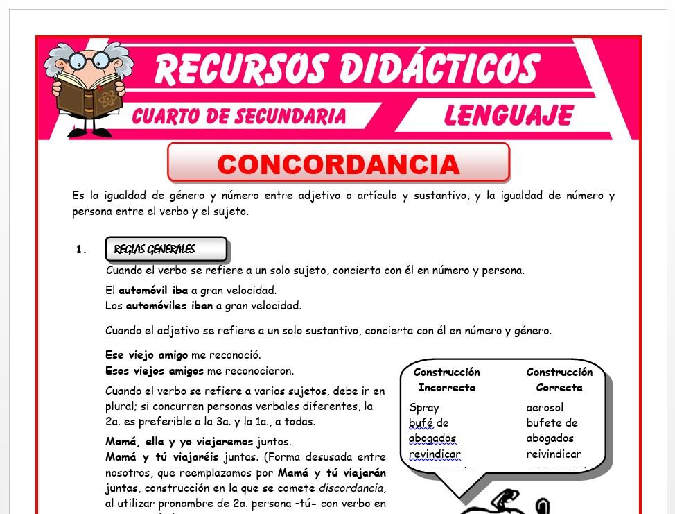Ficha de La Concordancia para Cuarto de Secundaria