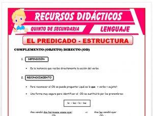 Ficha de La Estructura del Predicado para Quinto de Secundaria