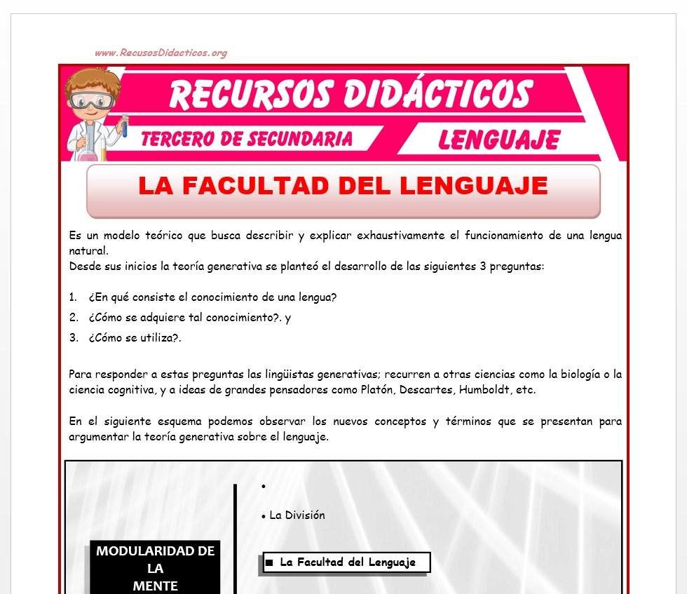 Ficha de La Facultad del Lenguaje para Tercero de Secundaria