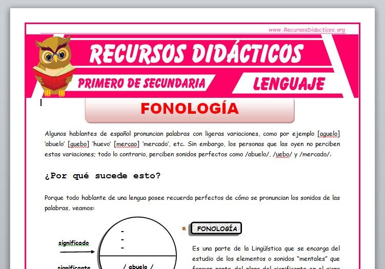 Ficha de La Fonología para Primero de Secundaria