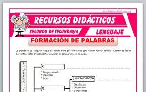 Ficha de La Formación de Palabras para Segundo de Secundaria