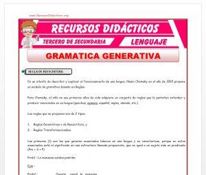 Ficha de La Gramática Generativa para Tercero de Secundaria
