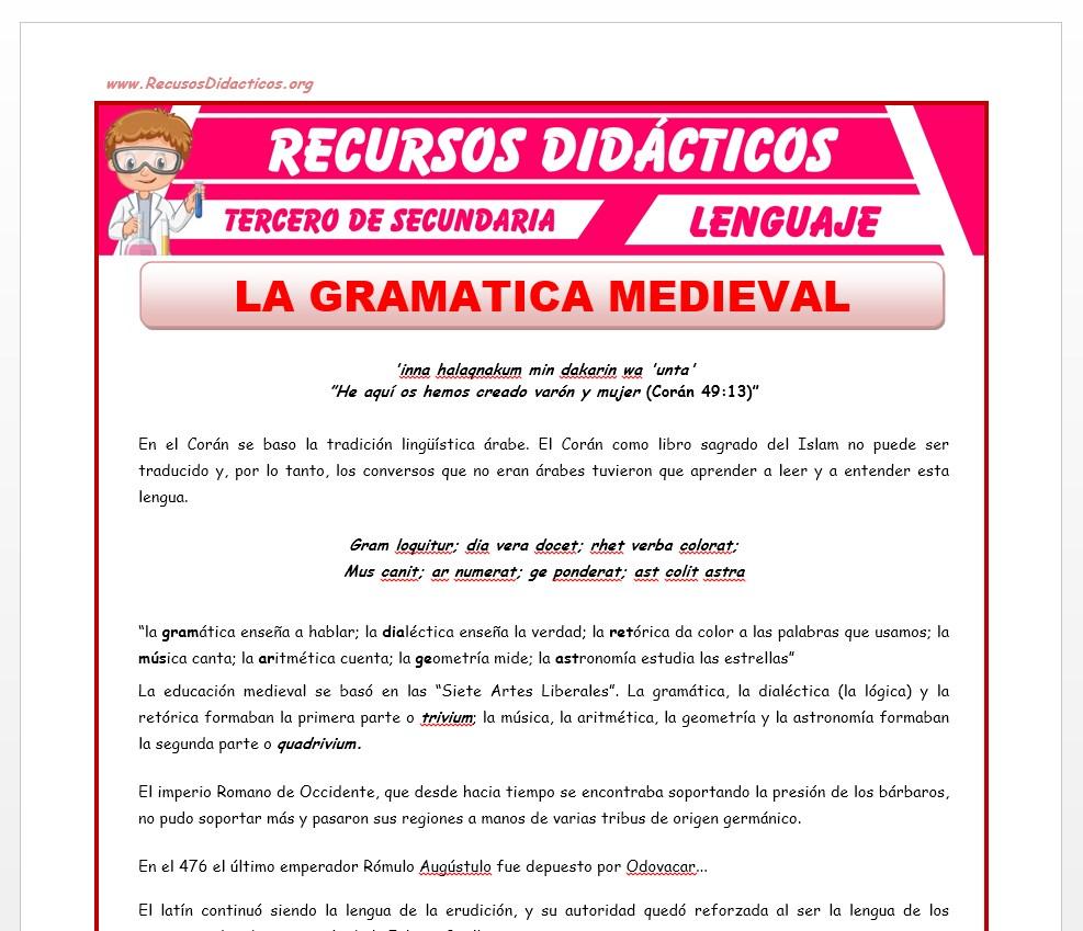 Ficha de La Gramática Medieval para Tercero de Secundaria