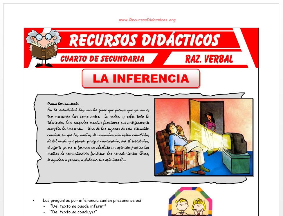 Ficha de La Inferencia Ejercicios para Cuarto de Secundaria