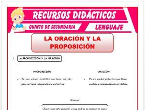 Ficha de La Oración y La Proposición para Quinto de Secundaria