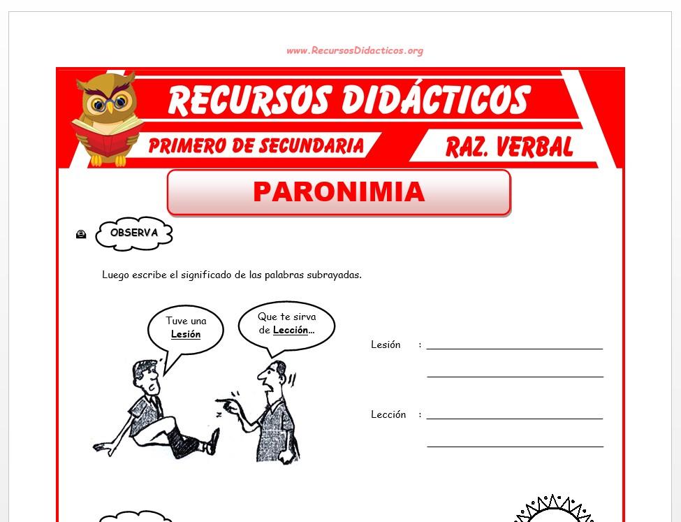 Ficha de La Paronimia para Primero de Secundaria