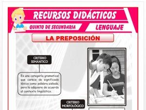 Ficha de La Preposición y la Conjunción para Quinto de Secundaria