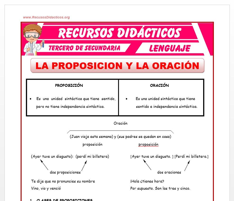 Ficha de La Proposición y La Oración para Tercero de Secundaria