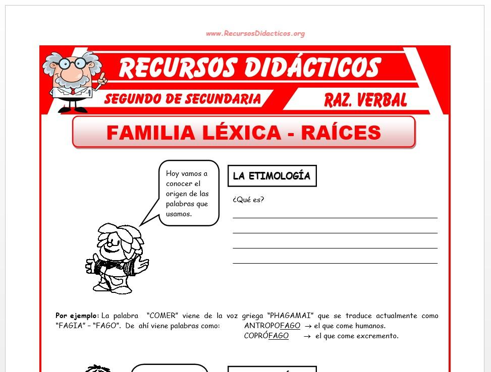 Ficha de La Raíz de una Palabra para Segundo de Secundaria