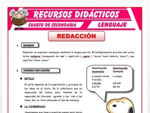 Ficha de La Redacción para Cuarto de Secundaria