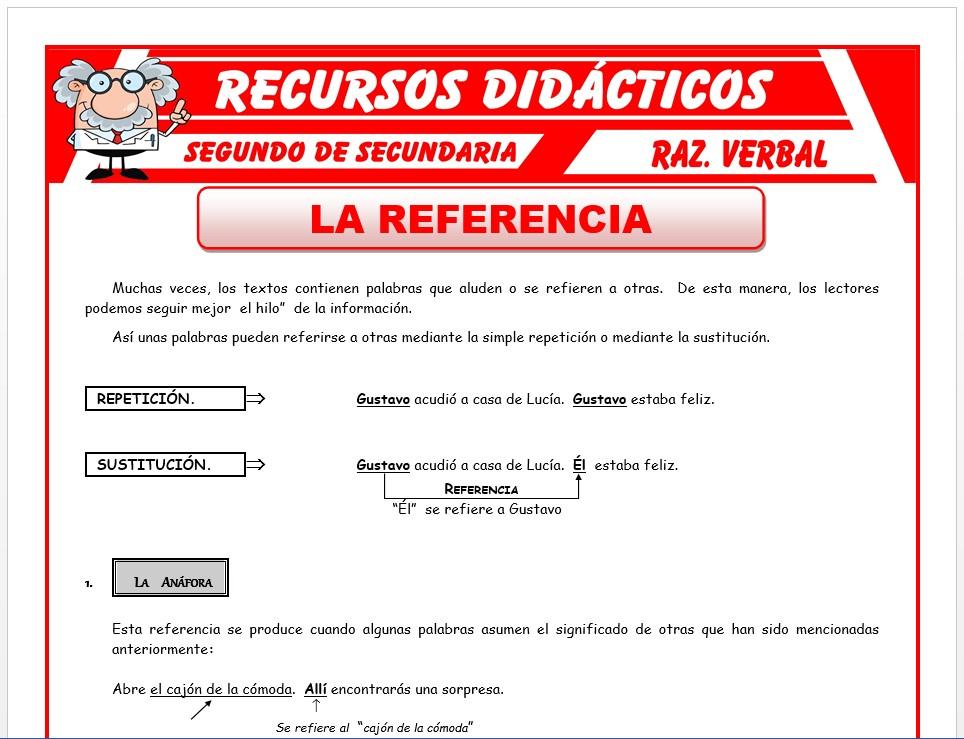 Ficha de La Referencia para Segundo de Secundaria