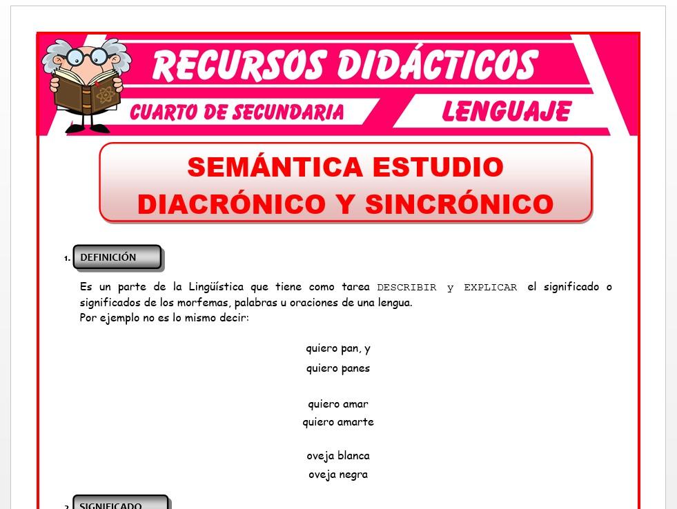 Ficha de La Semántica para Cuarto de Secundaria