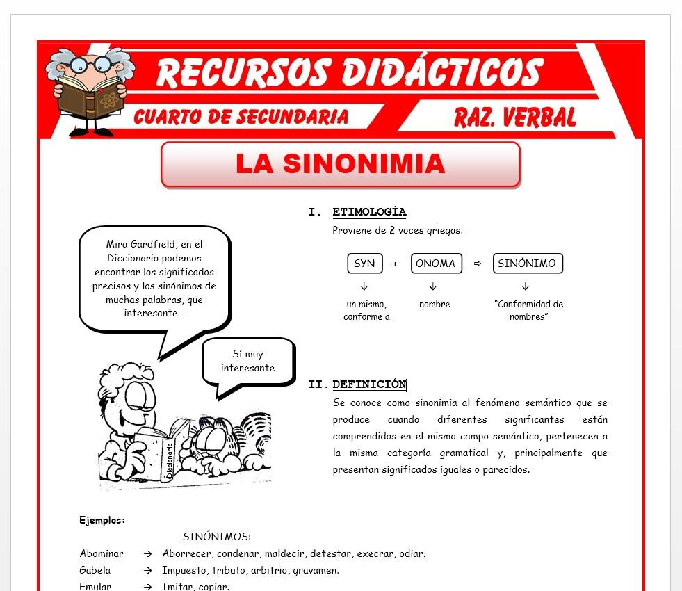 Ficha de La Sinonimia para Cuarto de Secundaria