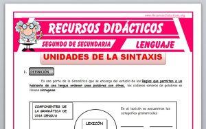 Ficha de La Sintaxis para Segundo de Secundaria
