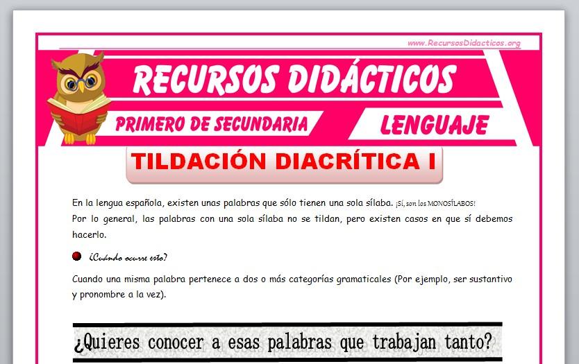 Ficha de La Tildación Diacrítica en Monosílabos para Primero de Secundaria