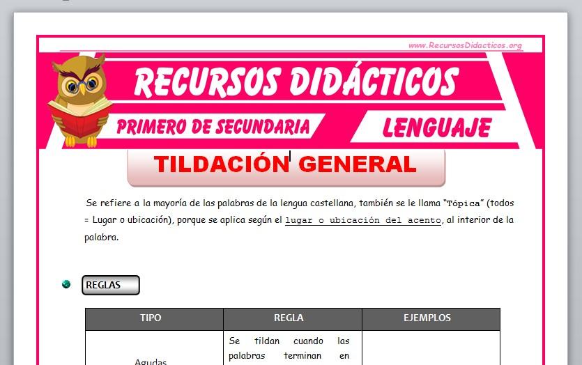 Ficha de La Tildación General para Primero de Secundaria