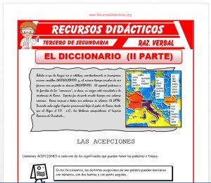 Ficha de Las Acepciones en el Diccionario para Tercero de Secundaria