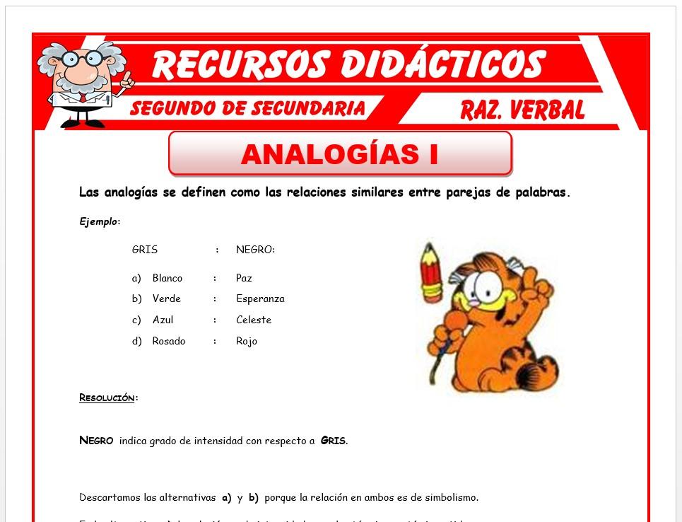 Ficha de Las Analogías para Segundo de Secundaria