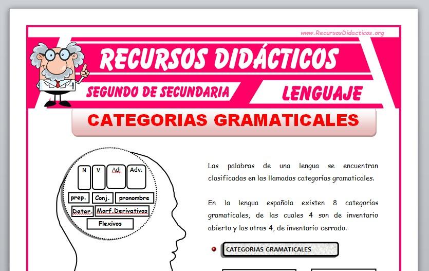 Ficha de Las Categorías Gramaticales para Segundo de Secundaria