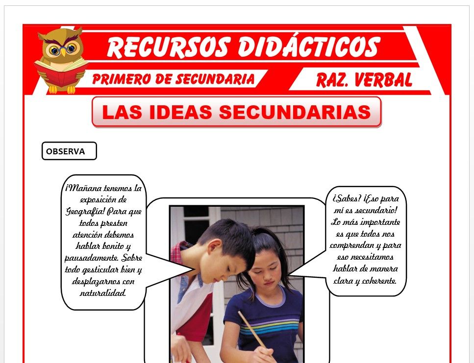 Ficha de Las Ideas Secundaria de un Texto para Primero de Secundaria