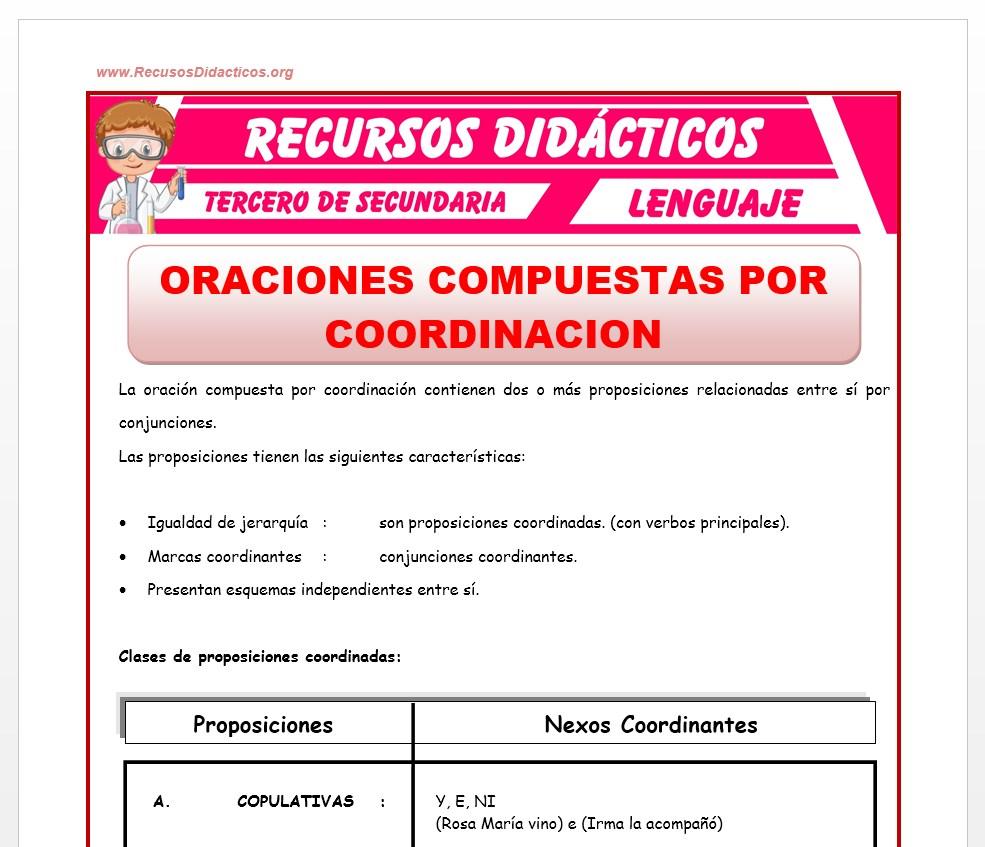 Ficha de Las Oraciones Compuestas por Coordinación para Tercero de Secundaria