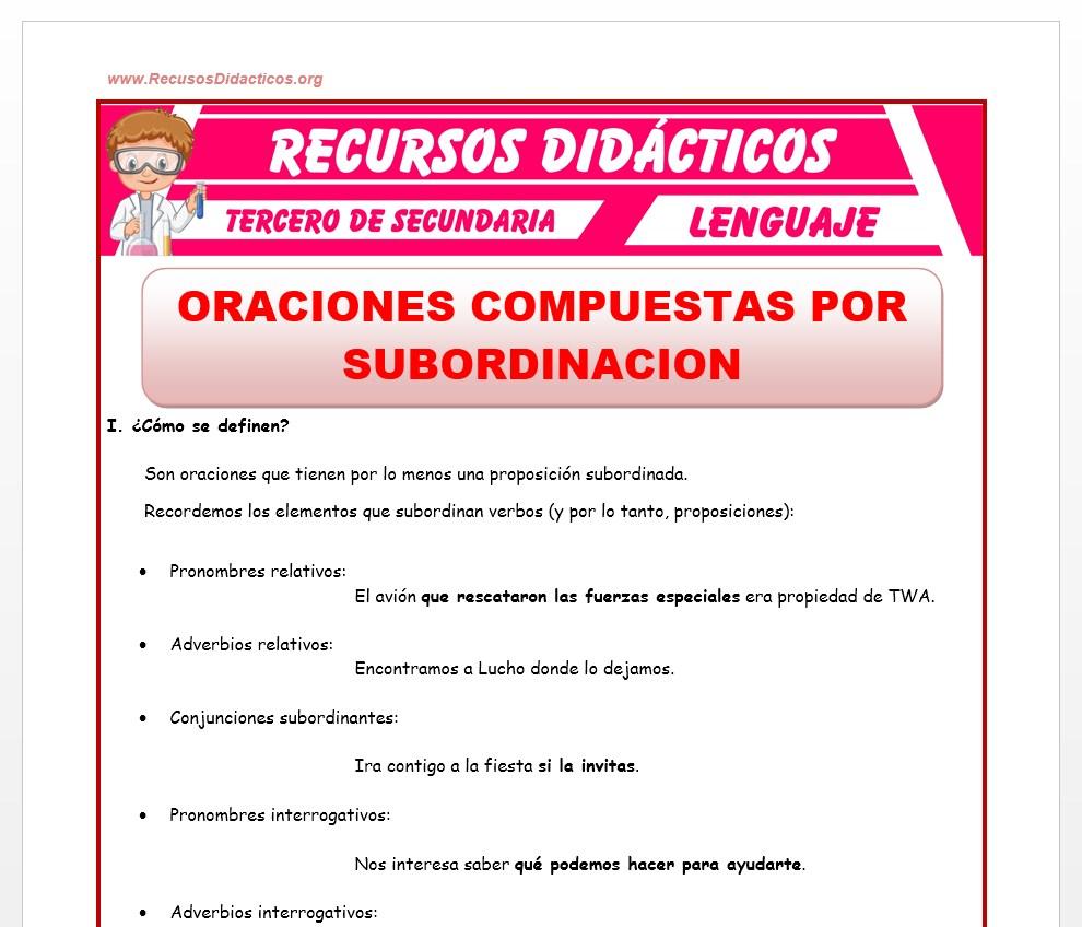Ficha de Las Oraciones Compuestas por Subordinación para Tercero de Secundaria