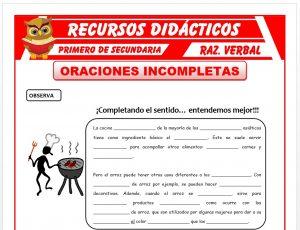 Ficha de Las Oraciones Incompletas para Primero de Secundaria