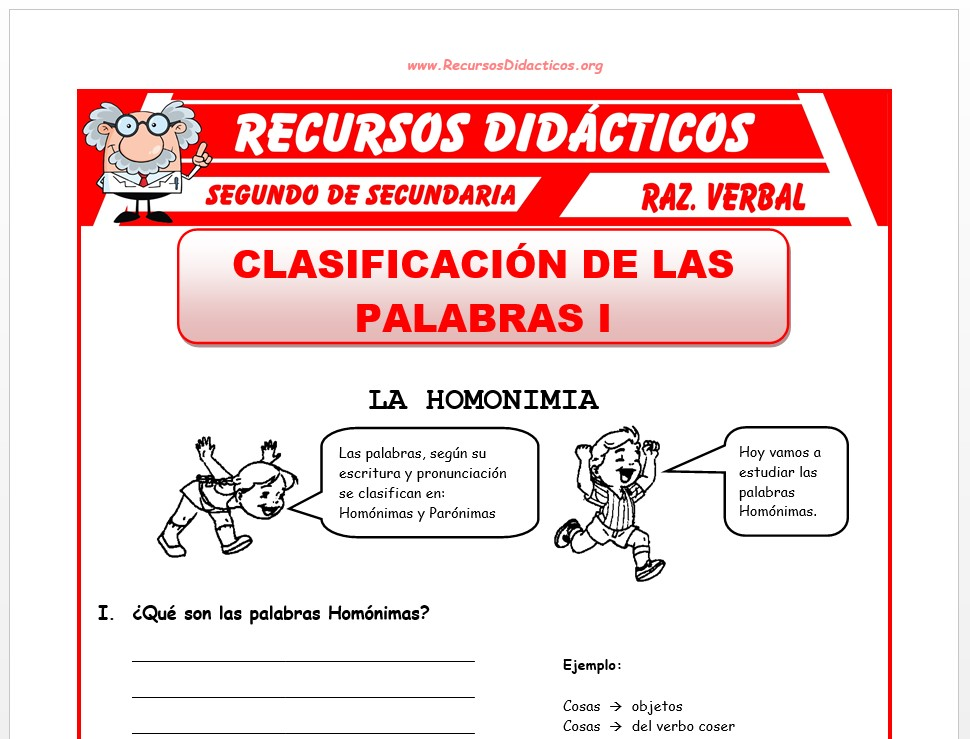 Ficha de Las Palabras Homónimas para Segundo de Secundaria